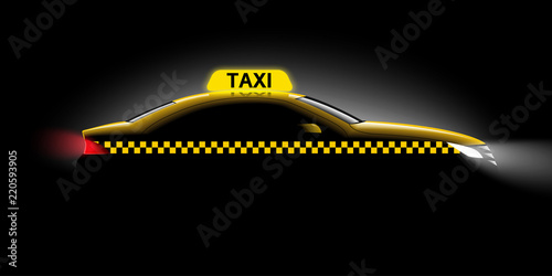 Realistic car taxi side view Wallpaper Mural