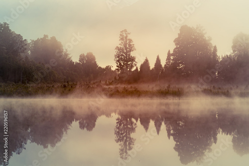 Poster Morning with fog Matheson reflection water lake early morning, New Zealand natural landscape background