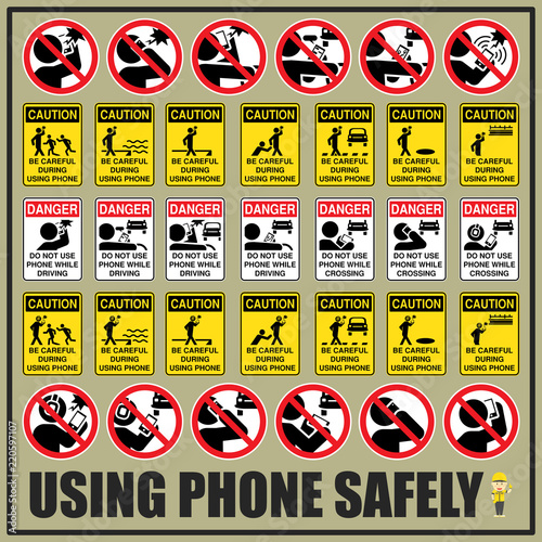 Photo  Set of safety signs and symbols of using phone safely are use to remind people to be aware of using phone during the day