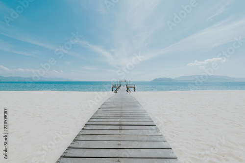 Foto op Plexiglas Caraïben Beautiful beach with white sand, blue sea, blue sky. Images used in the design, printing, advertising, marketing for travel. These luxury resorts and beautiful, paradise of the sea