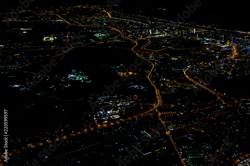 Photo  Beautiful photo picture of Istanbul in the night from the airplane