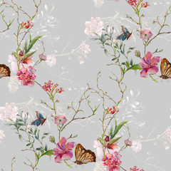 Fototapeta Motyle Watercolor painting of leaf and flowers, seamless pattern on gray background