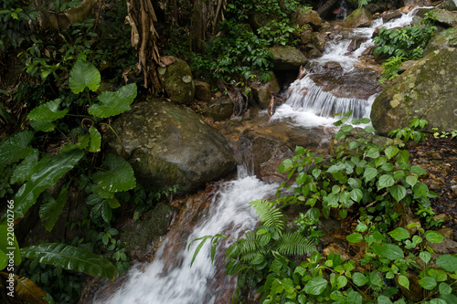 Fototapeten Wasserfalle Aerial View of Small Waterfall in the Tropical Rainforest Mountains