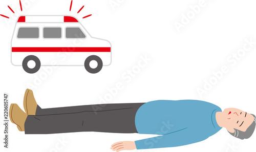 Photo 失神したシニアと救急車