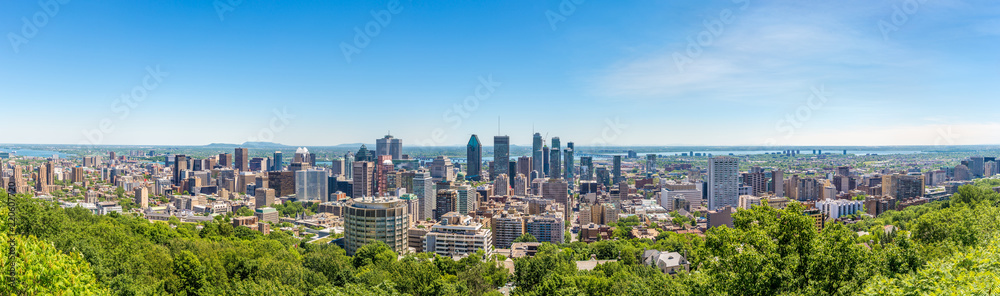 Panoramic skyline view from Mount Royal hill at the Montreal city in Canada