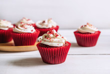Red Velvet Cupcake On White Wo...