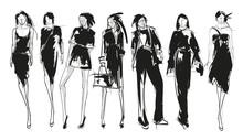 Stylish Fashion Models. Pretty Young Girls. Fashion Girls Sketch Set
