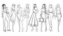 Stylish Fashion Models. Pretty Young Girls. Fashion Girls SketchPrint