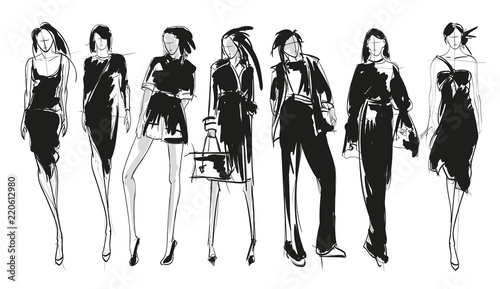 Stylish fashion models. Pretty young girls. Fashion girls sketch set