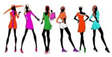 Pretty Fashionable Silhouette. Fashionable Girls.