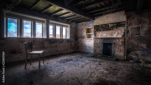 Old ruined abandoned house with a haunting atmosphere Canvas Print