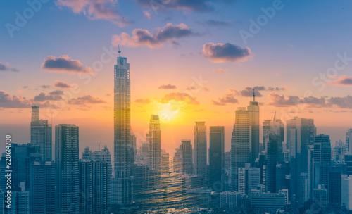 Staande foto Stad gebouw City sunset skyline. Double exposure.