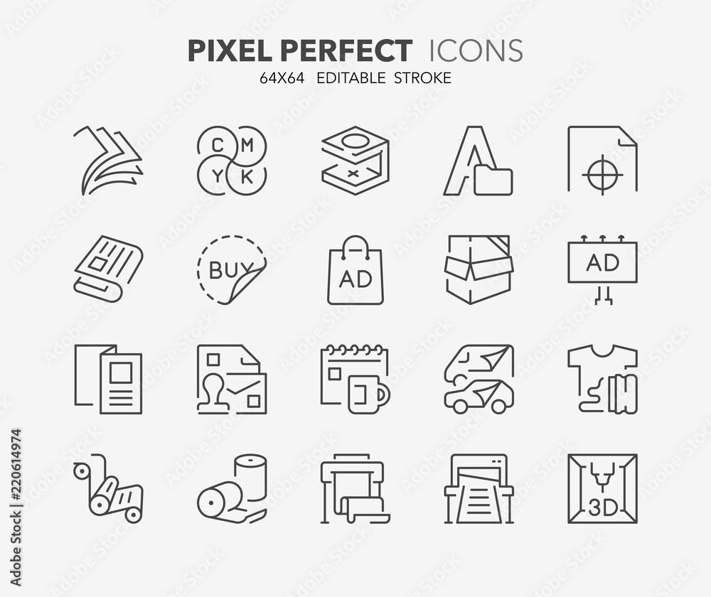 Fototapety, obrazy: printing thin line icons