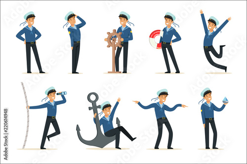 Fototapeta Sailor character doing his job set. Seaman in different situations cartoon vector Illustrations obraz