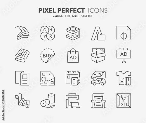 Fototapeta printing thin line icons obraz