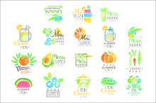Summer Vegetarian Menu Set For Logo Design. Collection Of Colorful Illustrations