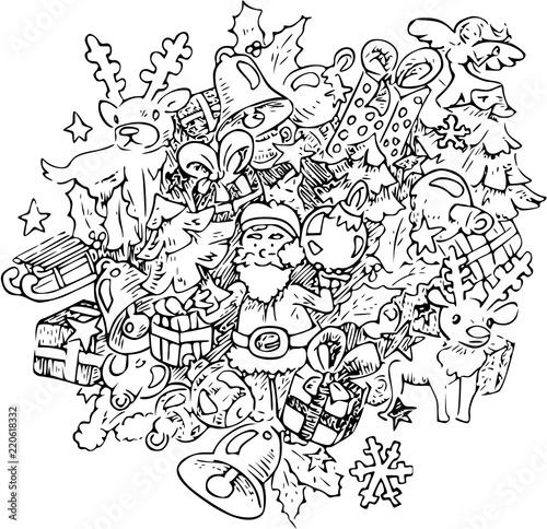 Kerst Kleurplaat Doodle Illustratie Met Kerstman Rendier En