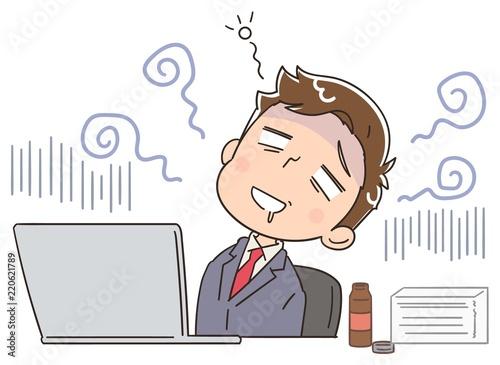 疲れているビジネスマンのイラスト Adobe Stock でこのストック