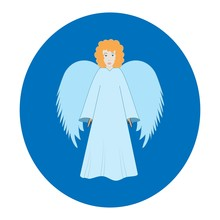 Angel In Blue Oval. Biblical Personage. Symbol Christmas Season, Holiday Easter And Love. Colorful Template For Printed, Textiles, Banner,greeting Card. Design Element. Vector Illustration.