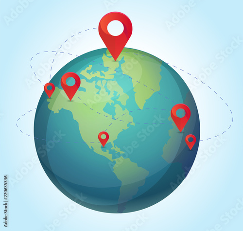 Vector world map with pins illustration  World with pins