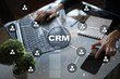 canvas print picture CRM. Customer relationship management concept. Customer service and relationship.