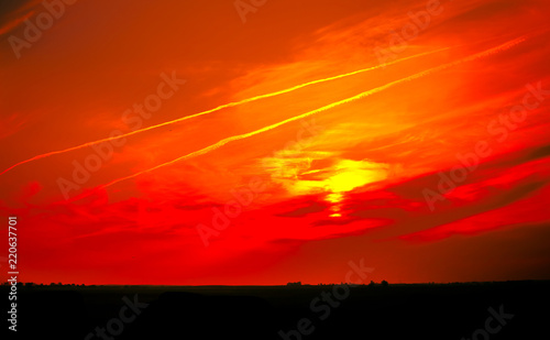 Panoramic Surreal landscape bloody sky With horizon line