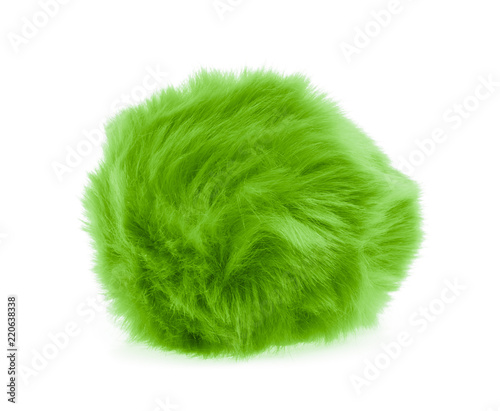 Photo  Green Fur ball isolated on white background
