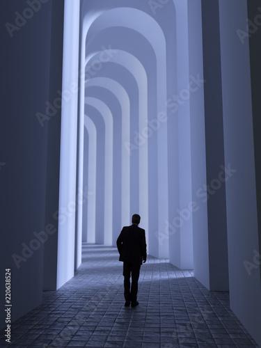 Valokuvatapetti man walks through the archway