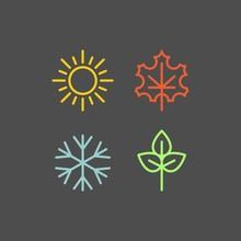 Seasons Flat Vector Icons