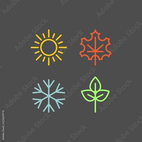 Fototapeta Seasons flat vector icons