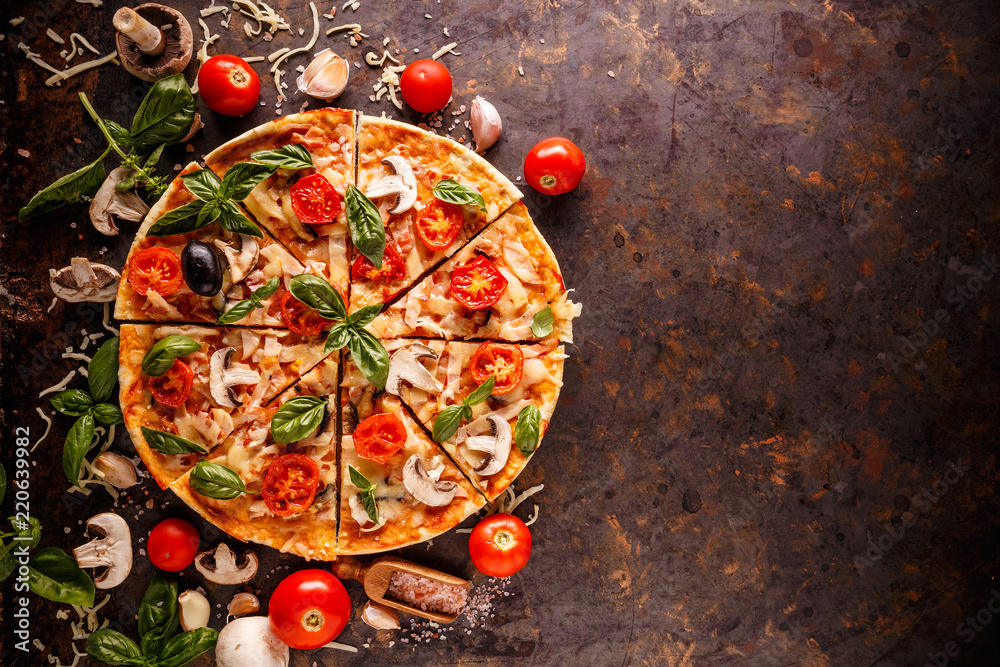 Composition with pizza