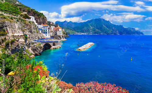 Scenic Amafi coast. view of Atrani village, Campania, Italy