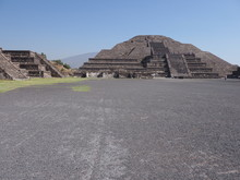 Monumental Pyramid Of The Moon At Teotihuacan Ruins Seen From Avenue Of The Dead Near Mexico City Landscape