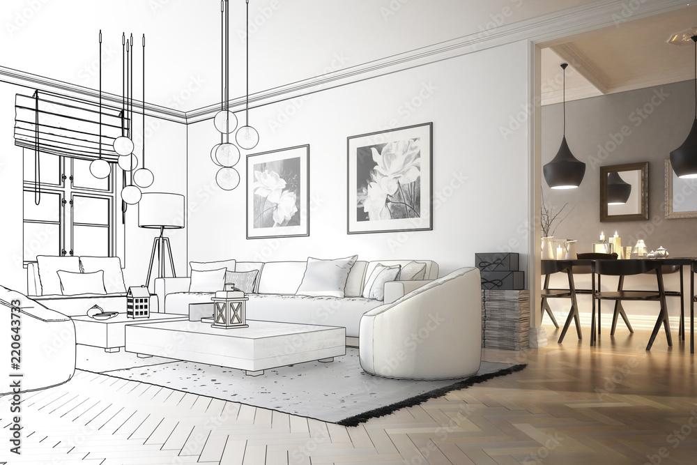 Fototapeta Raumadaptation: Wohnzimmer (Entwurf)