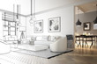 Leinwanddruck Bild - Raumadaptation: Wohnzimmer (Entwurf)
