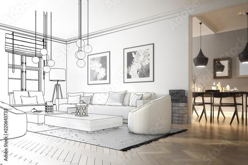 Obraz Raumadaptation: Wohnzimmer (Entwurf) - fototapety do salonu