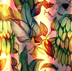 Fototapeta Jesień Tropical watercolor seamless pattern with banana leaves, banana fruit, orchid flowers, magnolia. Illustration drawn by hand in Hawaiian style with exotic plants. Botanical background with banana bran