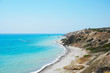 Beautiful seascape with bright blue clear sky and ultramarine sea in sunny summer day in Cyprus