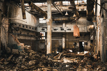 Abandoned Ruined Industrial Warehouse Or Factory Building Inside, Corridor View With Perspective, Ruins And Demolition Concept