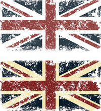 Vector Illustration Of Old Scratched Flags Of United Kingdom