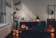 3D Render Halloween Party In L...