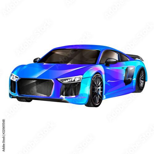 Foto op Aluminium Cartoon cars Super car design concept. Unique modern realistic art. Generic luxury automobile. Car presentation side view. Rastr 3D illustration