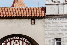 Details Of Medieval Architecture With Small Window And Arch Gate, Cesky Krumlov