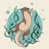 Fototapeta Fototapety na ścianę do pokoju dziecięcego - sea otter floating on water with kelp forest vector illustration
