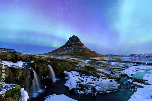 Poster Northern Europe Kirkjufell and Aurora in Iceland.