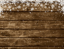 Wooden Brown Christmas Background With Snowflakes, Vector Illustration