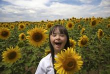 Little Girl In Sunflowers Field