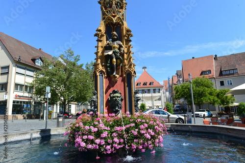 Fischkastenbrunnen am Marktplatz von Ulm Canvas Print