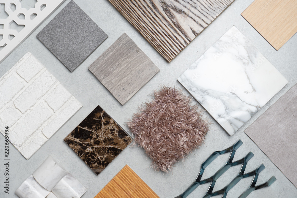 Fototapety, obrazy: samples of material, wood , on concrete table.Interior design select material for idea.