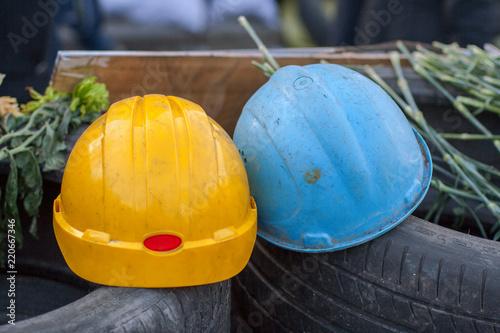 Protective helmets on barricades of euromaidan. Kiev. Ukraine